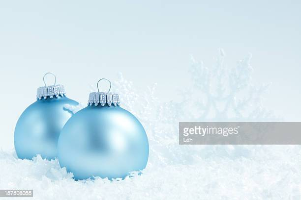Blue christmas baubles and snowflake