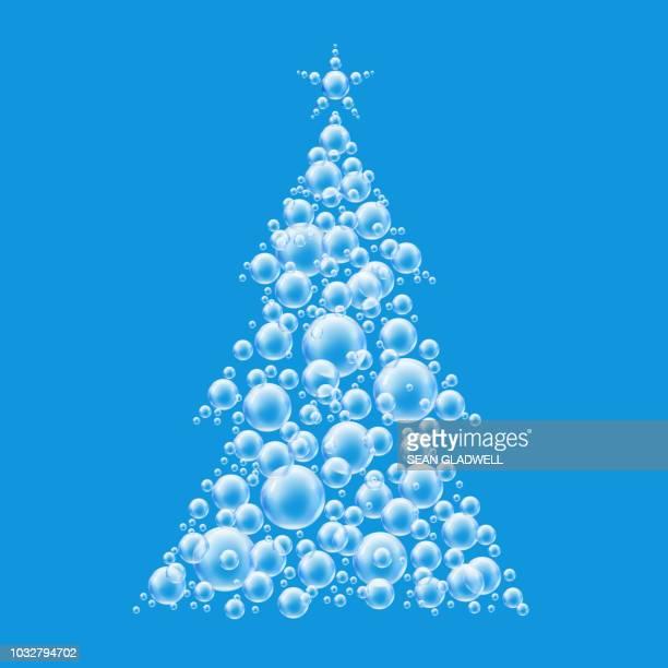Blue christmas tree bubbles