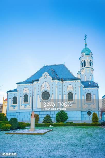 blue church in bratislava, slovakia - eslováquia imagens e fotografias de stock