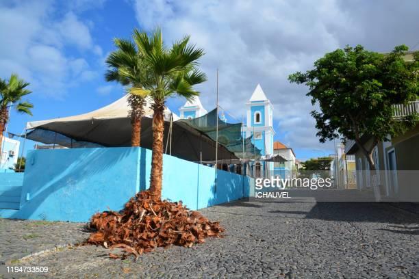 blue church sao felipe fogo cabo verde - cabo verde fotografías e imágenes de stock