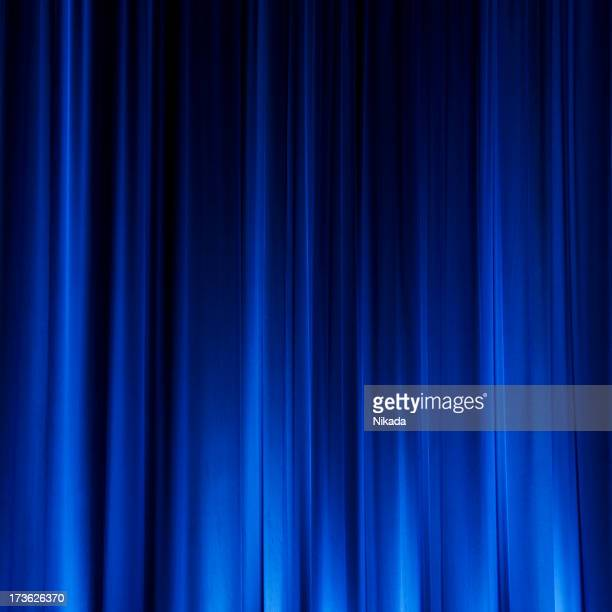 blue cinema curtain - velvet stock photos and pictures