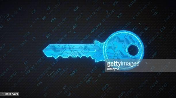 暗号化されたデータの青い回路デジタル キー