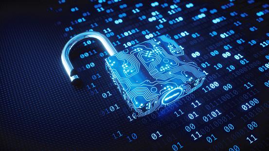Blue circuitry digital lock on binary code 913017342