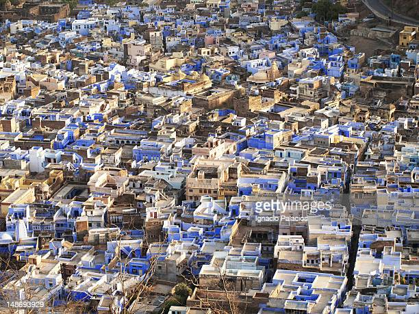 Blue city of Bundi from palace and fort.