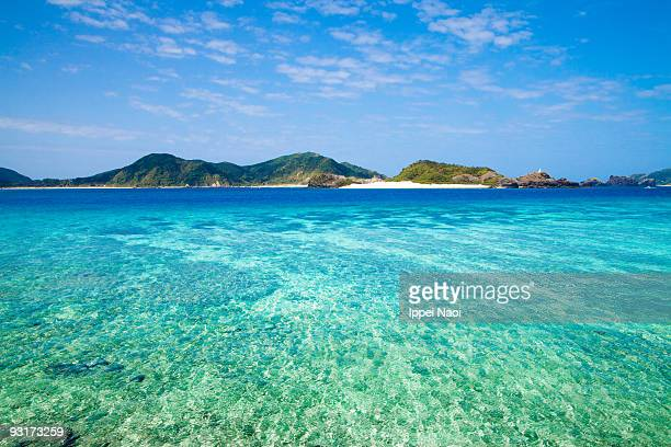 Blue clear water, deserted tropical coral islands