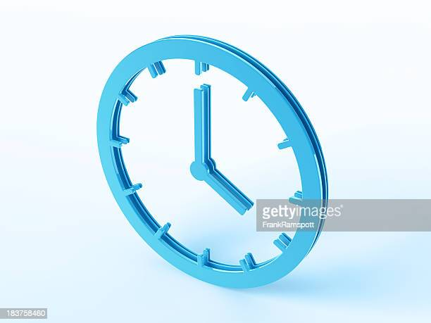 blue clock symbol - frankramspott stock pictures, royalty-free photos & images