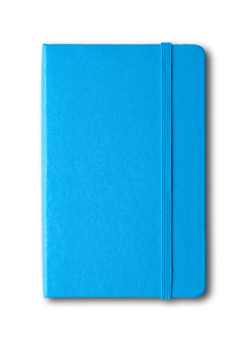 blue closed notebook isolated on white 919570020