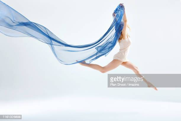 blue cloth and motion - chiffon stock pictures, royalty-free photos & images