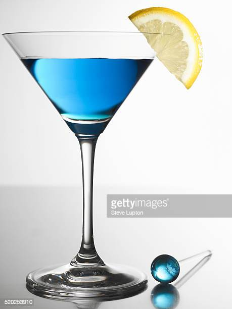 Blue Cocktail in Martini Glass