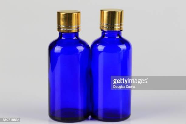 Blue colored bottles