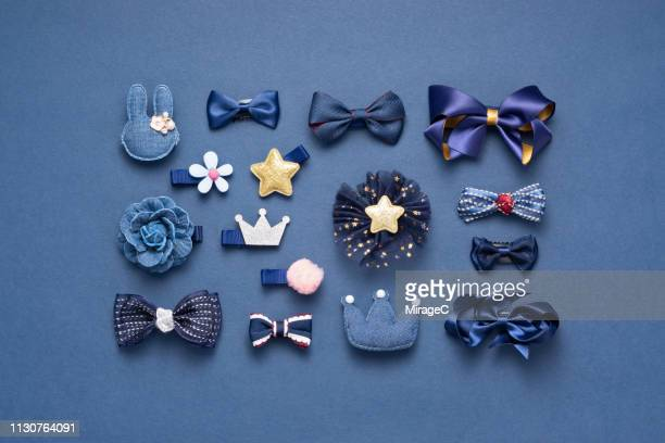blue colored hair accessory collection - hair bow stock pictures, royalty-free photos & images