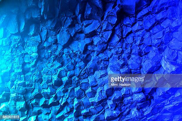 blue colors in basalt cave in iceland - rock formation stock pictures, royalty-free photos & images