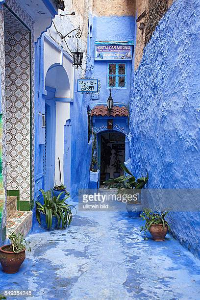 Blue coloured walls in the old town of Chefchaouen in the Rif mountains Morocco