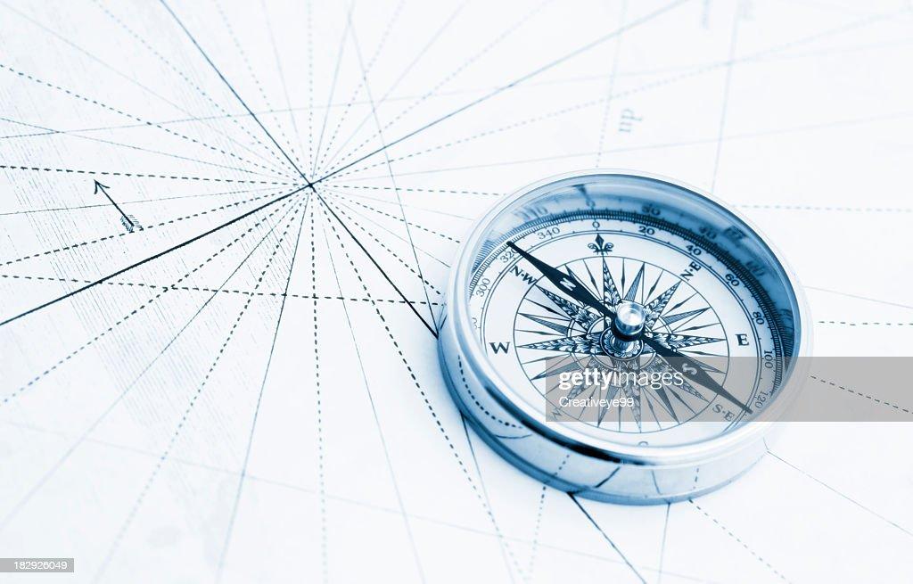 Blue compass high key : Stock Photo