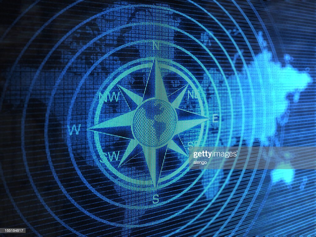Blue Compass With Circles Over Blue World Map Stock Photo - Getty Images