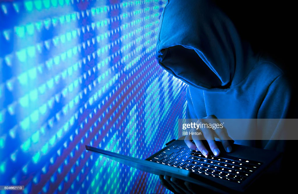 Blue Computer Hacker : Stock Photo
