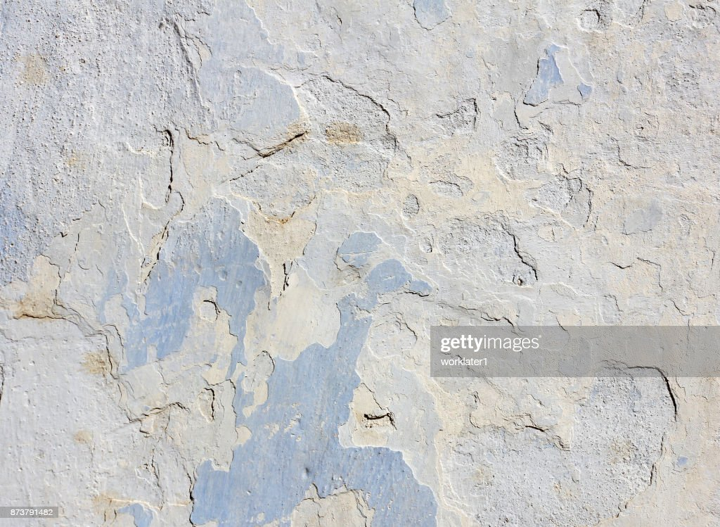 Blue Concrete Wall With Peeling Old Paint Texture Stock Photo