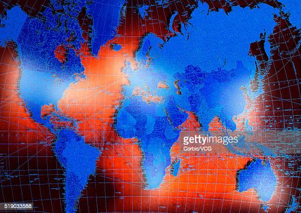 Blue Continents with Shipping Routes