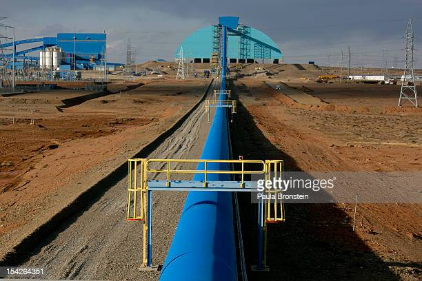 A blue conveyor belt that moves rock from the crusher to the concentrator area at the Oyu Tolgoi mine October 11 2012 in the south Gobi desert...