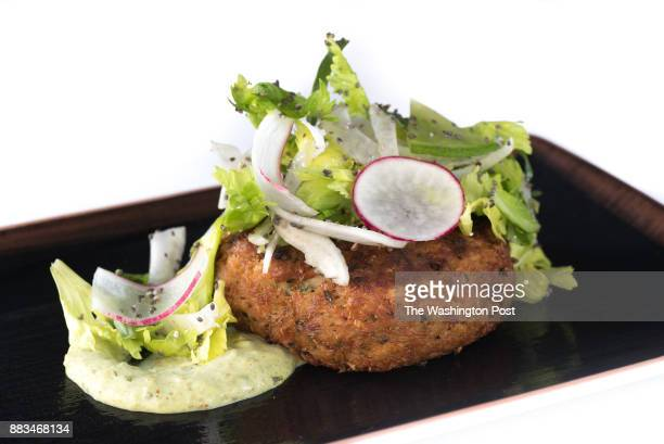 Blue Crab Cake with avocado remoulade at Rare Steakhouse in Washington DC on November 27 2017