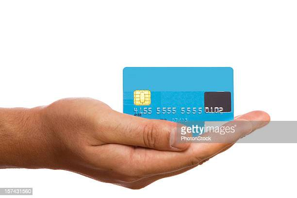 Blue credit card in man's hand