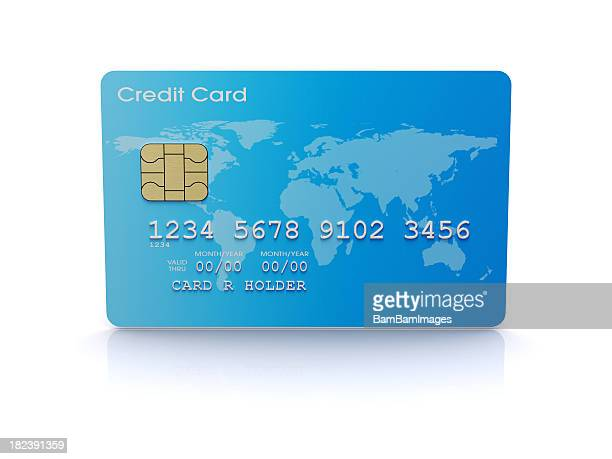Blue credit card with world map and gold chip