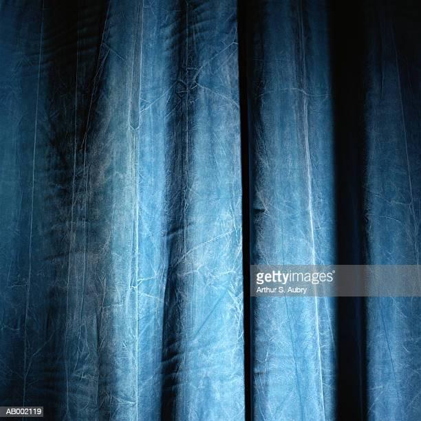 Blue Crushed Velvet Curtain