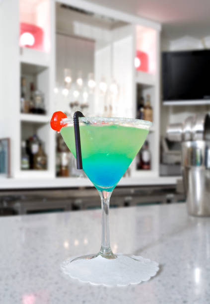 blue Curacao based cocktail in a white bar