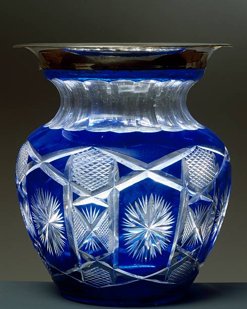 Blue Cut Crystal Vase With Silver Border Pictures Getty Images