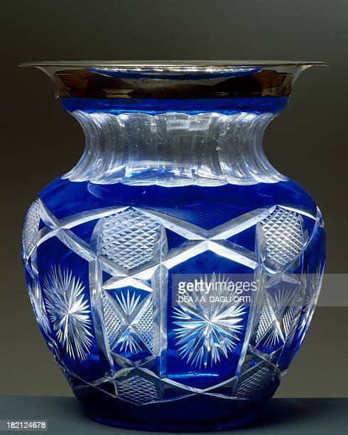 Blue cut crystal vase with silver border 19301939 Italy 20th century