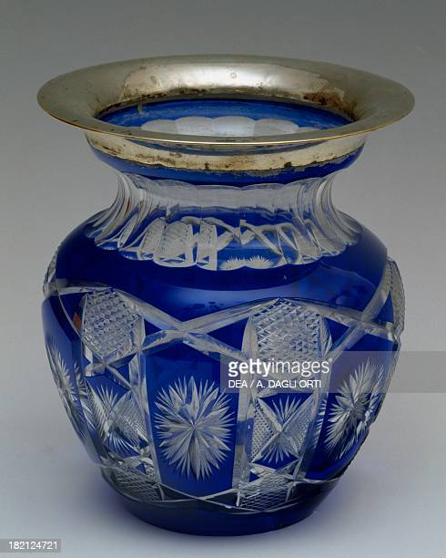 Blue cut crystal vase with silver border, 1930-1939, Italy, 20th century.