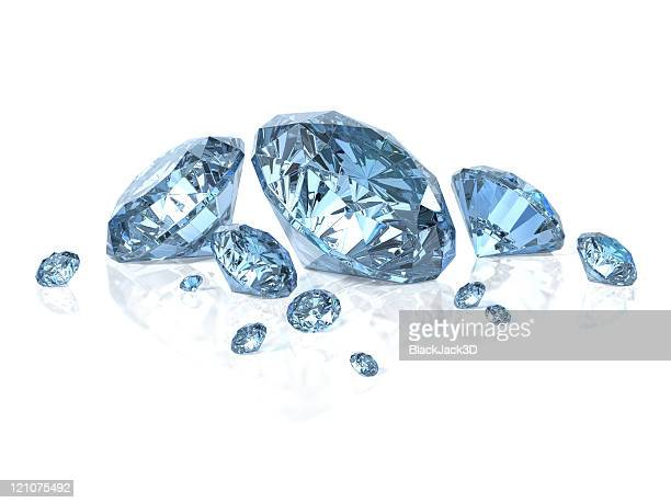 blue diamonds isolated on white - diamond gemstone stock pictures, royalty-free photos & images