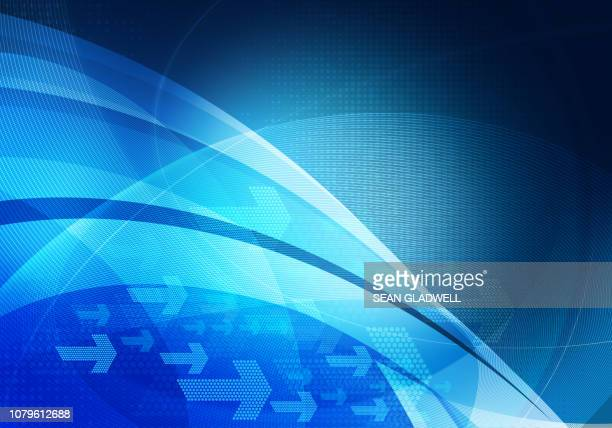 blue digital graphic arrows background - curved arrows stock photos and pictures