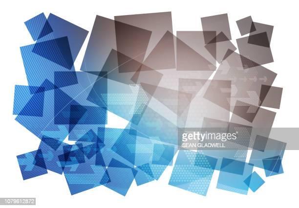 Blue digital graphic collage