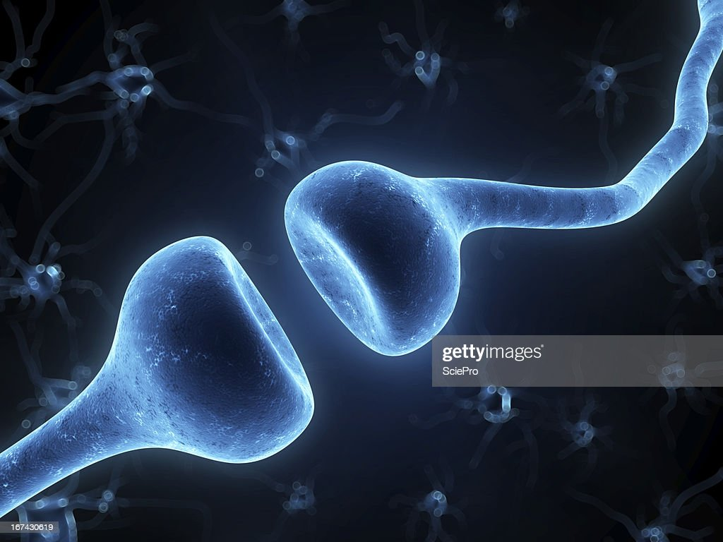 Blue digital image of a receptor on a black background : Stock Photo