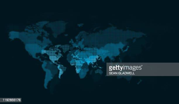 blue digital world map - spotted stock pictures, royalty-free photos & images