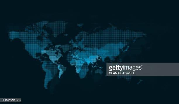 blue digital world map - europa kontinent stock-fotos und bilder