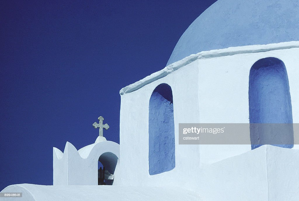Blue Domed Church, Paros, Greece (Horizontal) : Stock Photo