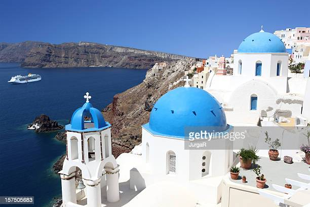 blue domes of santorini - santorini stock pictures, royalty-free photos & images