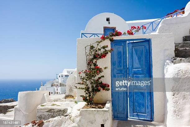 blue door und bougainvillea