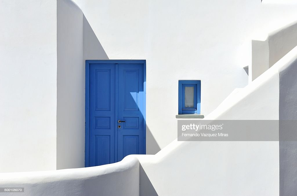 Blue door from a typical greek house in Folegandros. : Stock Photo