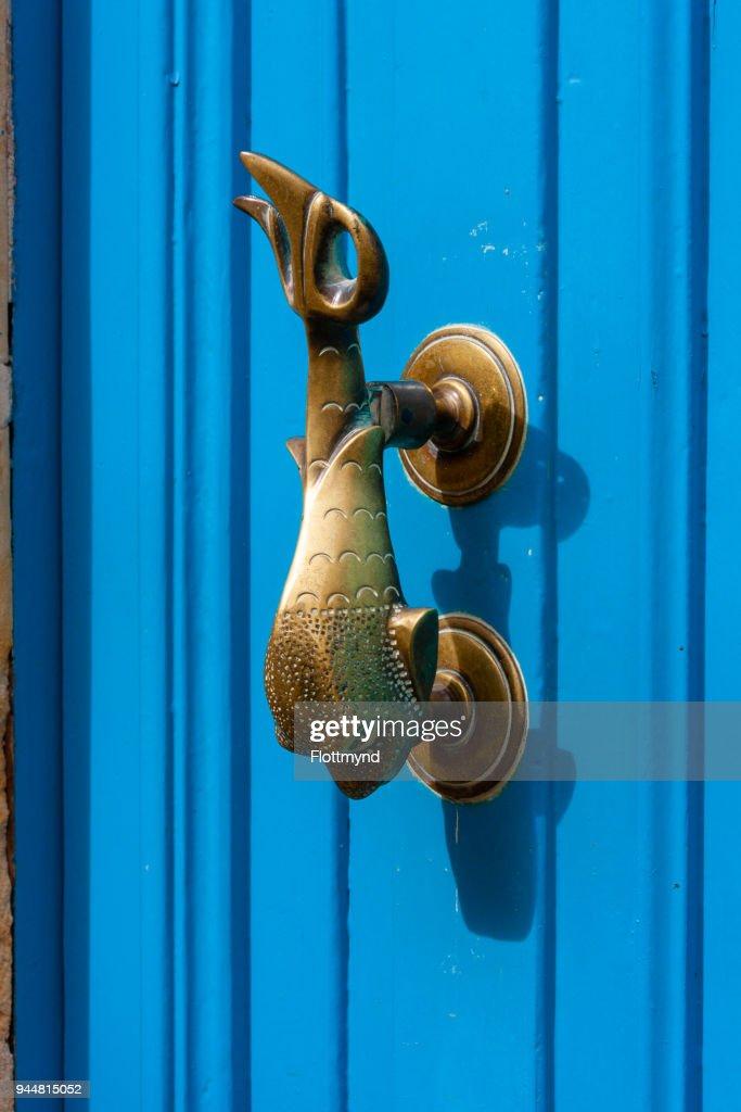 Blue door with Dolphin door knocker, Gozo Malta : Stock Photo