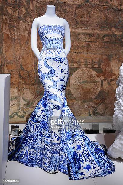 Blue dragon print dress by Roberto Cavalli is seen on display at The Metropolitan Museum Of Art's 'China Through The Looking Glass' press...