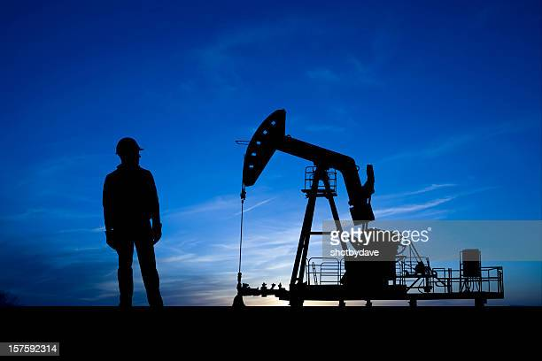 Blue Dusk Pumpjack and Oil Worker
