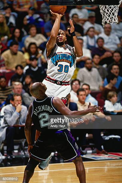 Blue Edwards of the Vancouver Grizzlies takes a jump shot against the Sacramento Kings during the NBA game on November 1 1997 in Vancouver British...