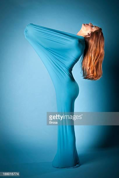 Azul mulher elástica