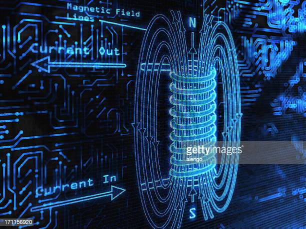 blue electromagnetic field with arrows - diagram stock pictures, royalty-free photos & images