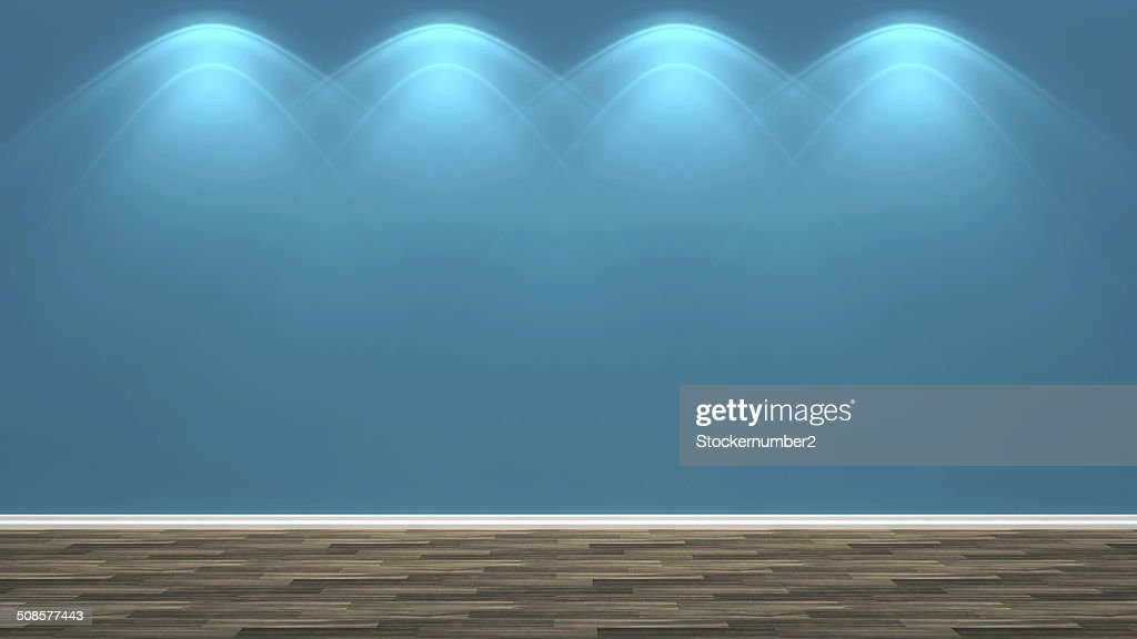 blue empty interior and lamp : Stock Photo