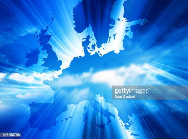blue europe map - maps stock photos and pictures