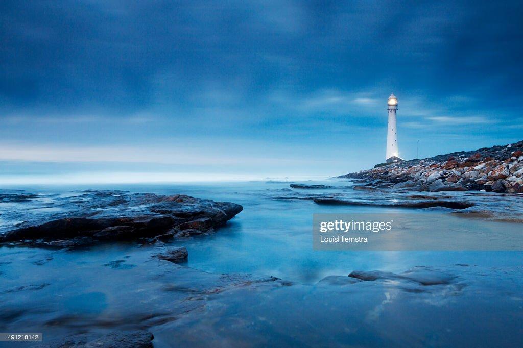 Blue Evening Lighthouse Landscape : Stock Photo